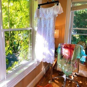 Lulu's White Bodycon Crochet Lace Off Shoulder Dre
